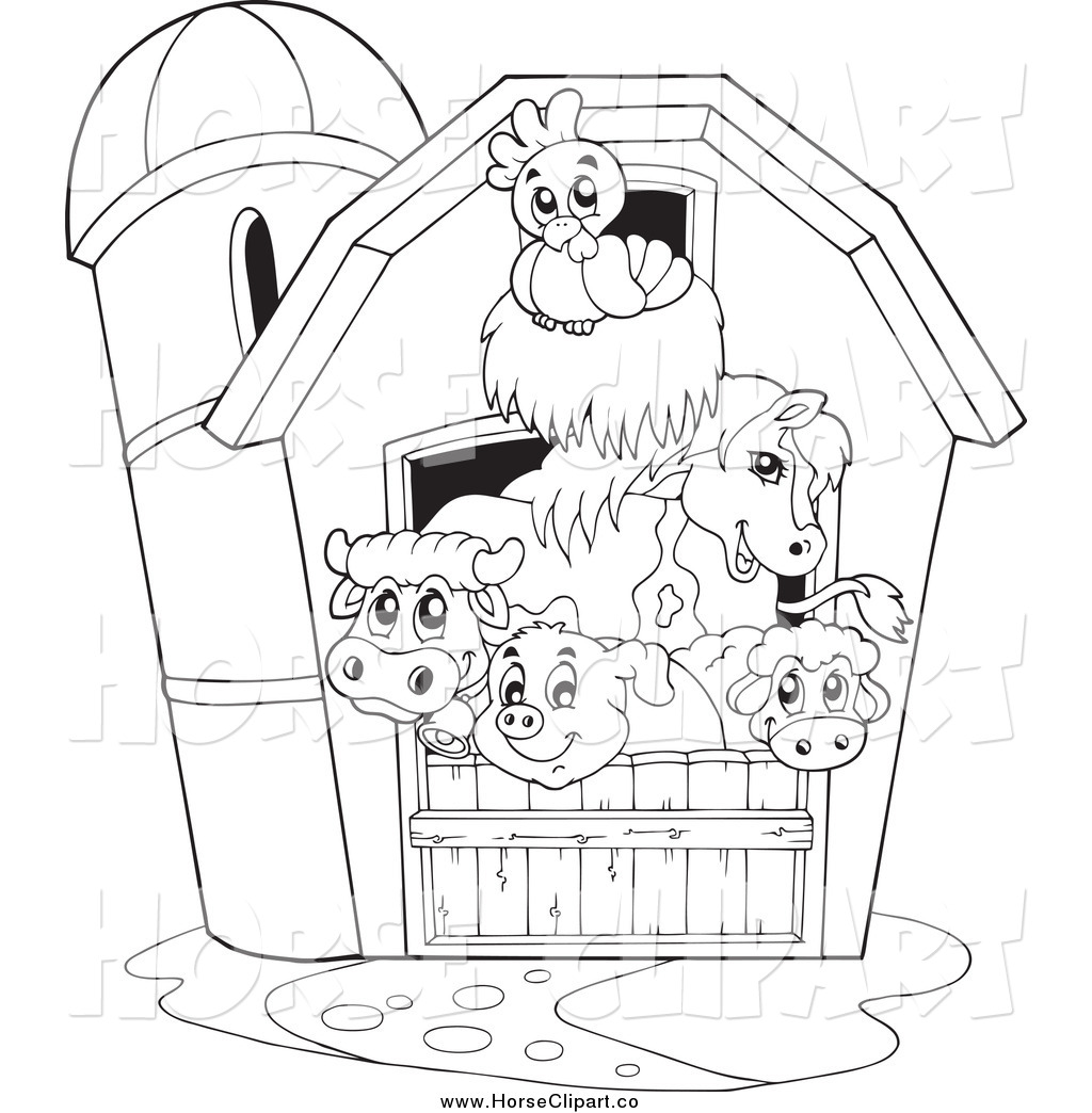 Clip Art of a Black and White Barnyard Animals in a Barn ...