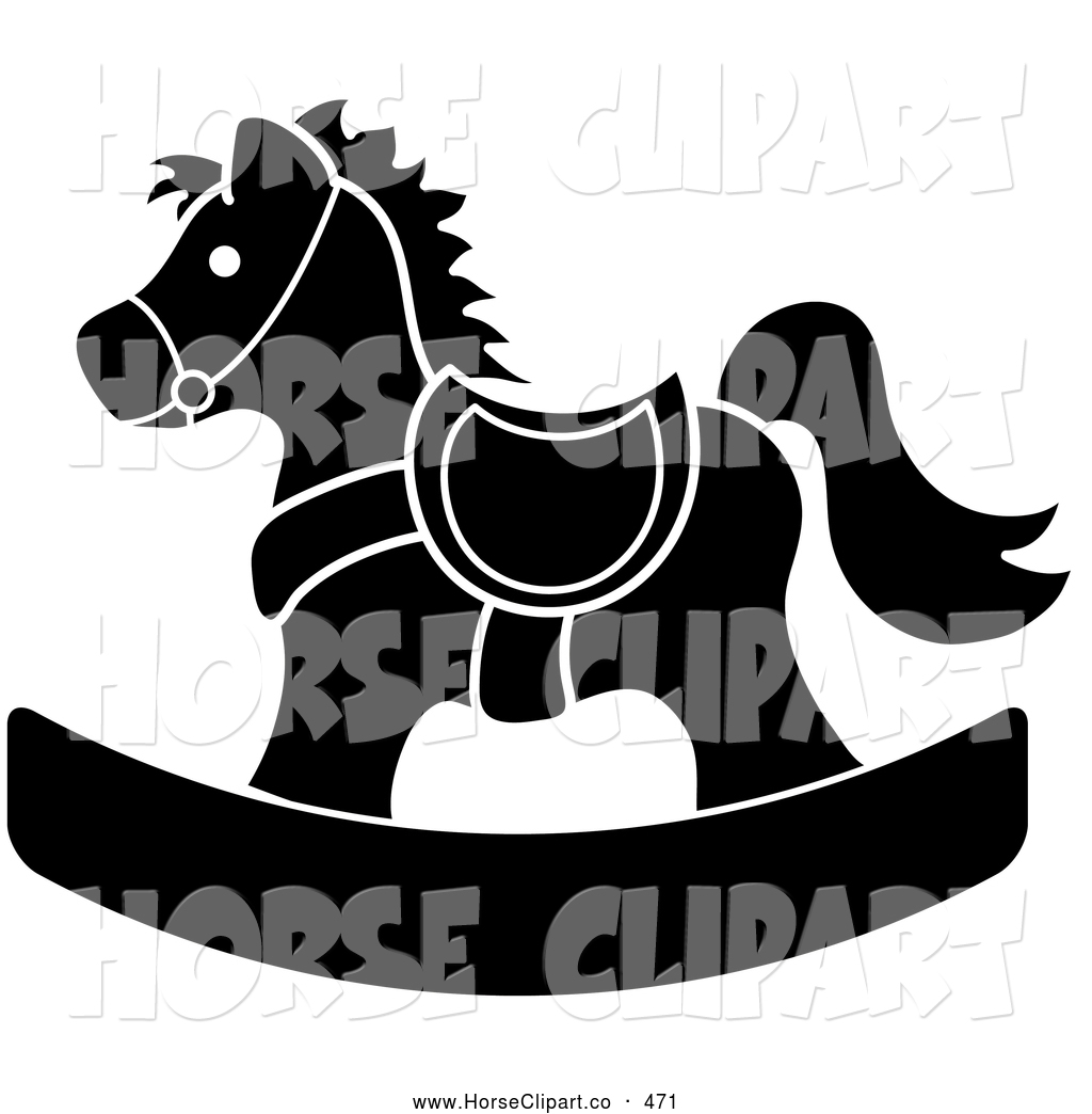 ... Black and White Children's Wooden Rocking Horse Toy by Pams Clipart