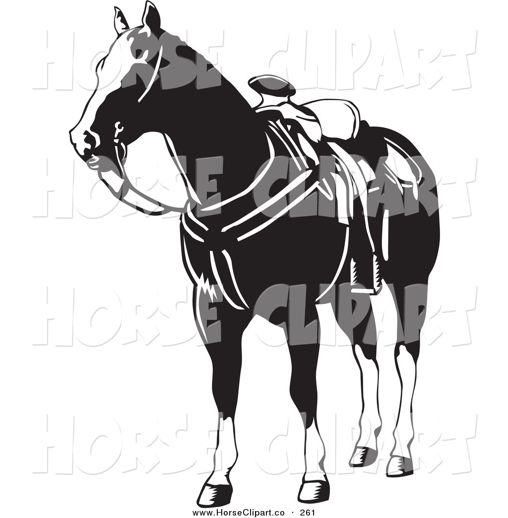 Free horse clipart black and white image