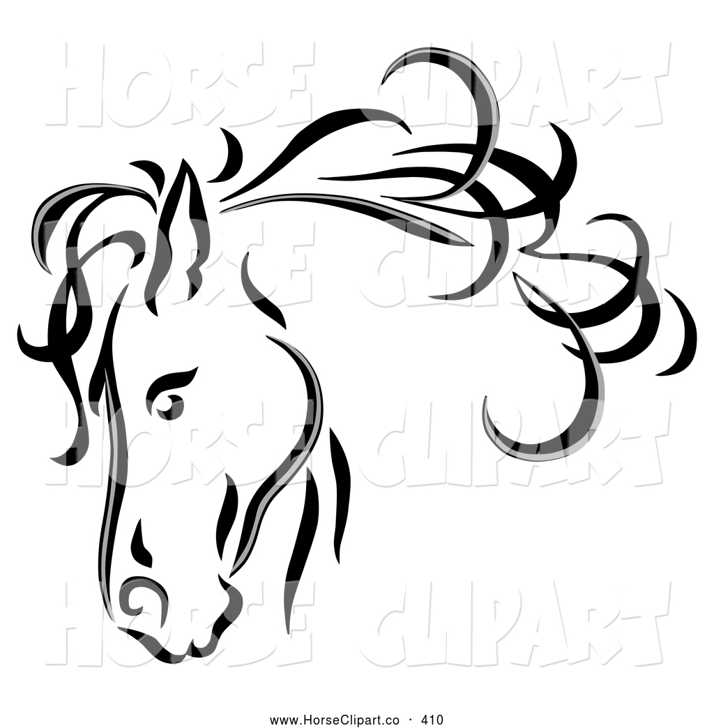 clip art of a black line art sketched horse head with a blowing mane rh horseclipart co printable horse head clip art distressed horse head clip art
