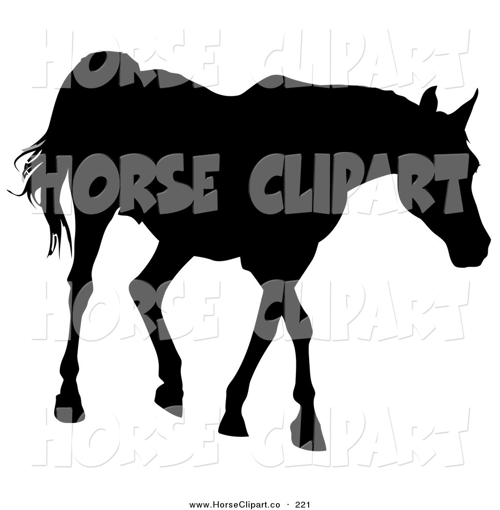 Clip Art Of A Black Silhouette Of A Walking Horse Going Right By Dero 221