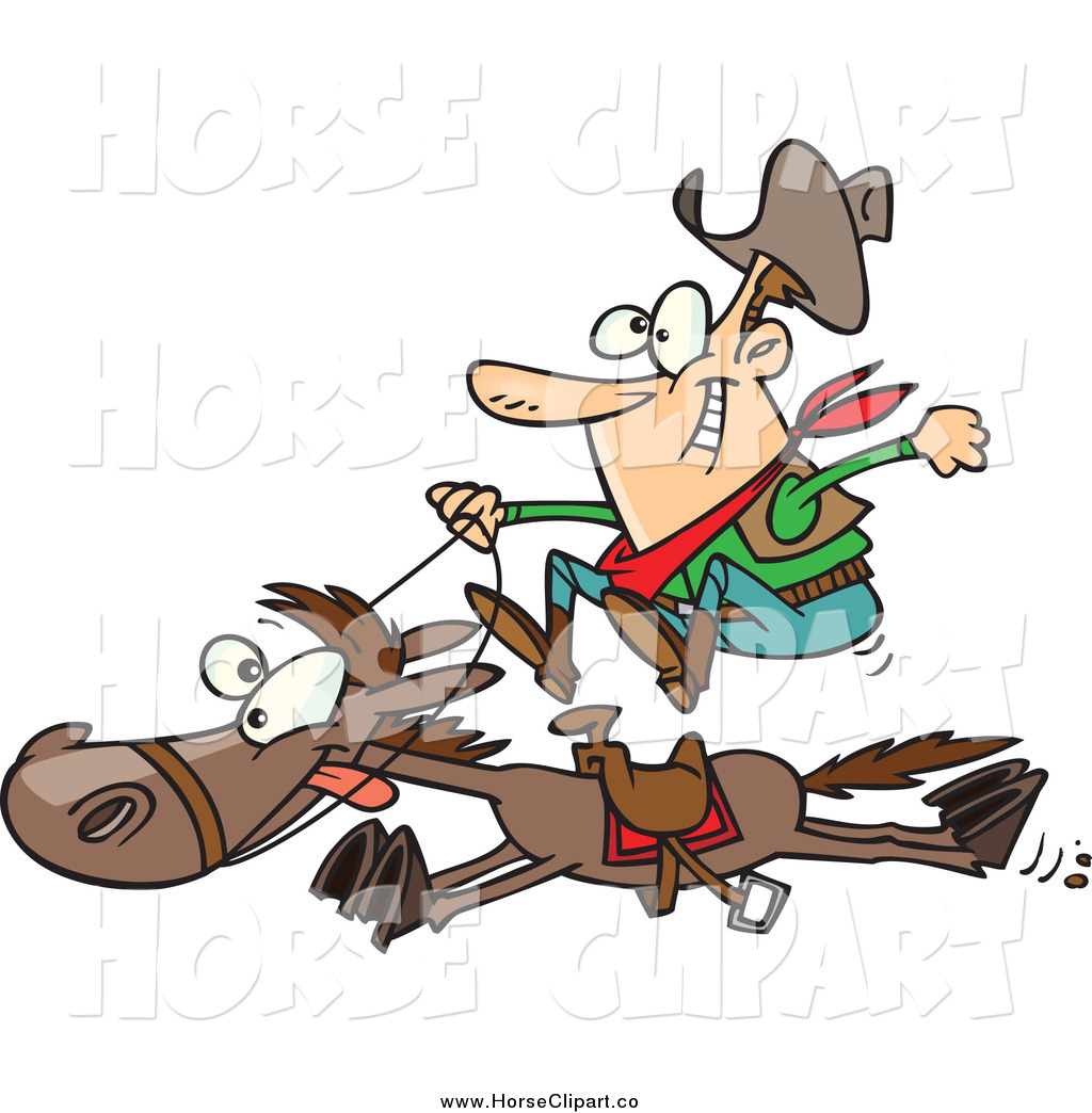 aec8312ad Clip Art of a Cartoon White Male Cowboy on a Galloping Horse by ...