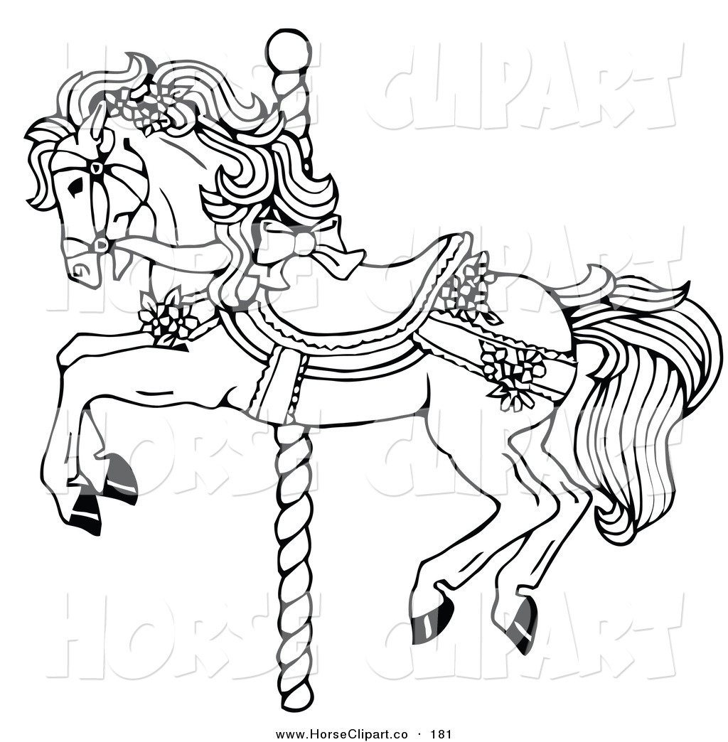 Clip Art Of A Coloring Page Of A Carousel Horse Decorated In Bows