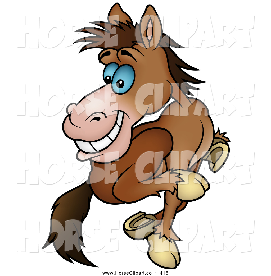 Preview clip art of a cute running brown horse looking back by dero