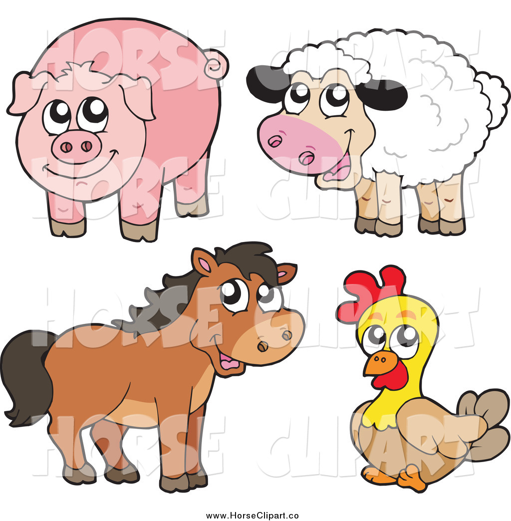 Sheep pig brown horse and chicken horse clip art visekart