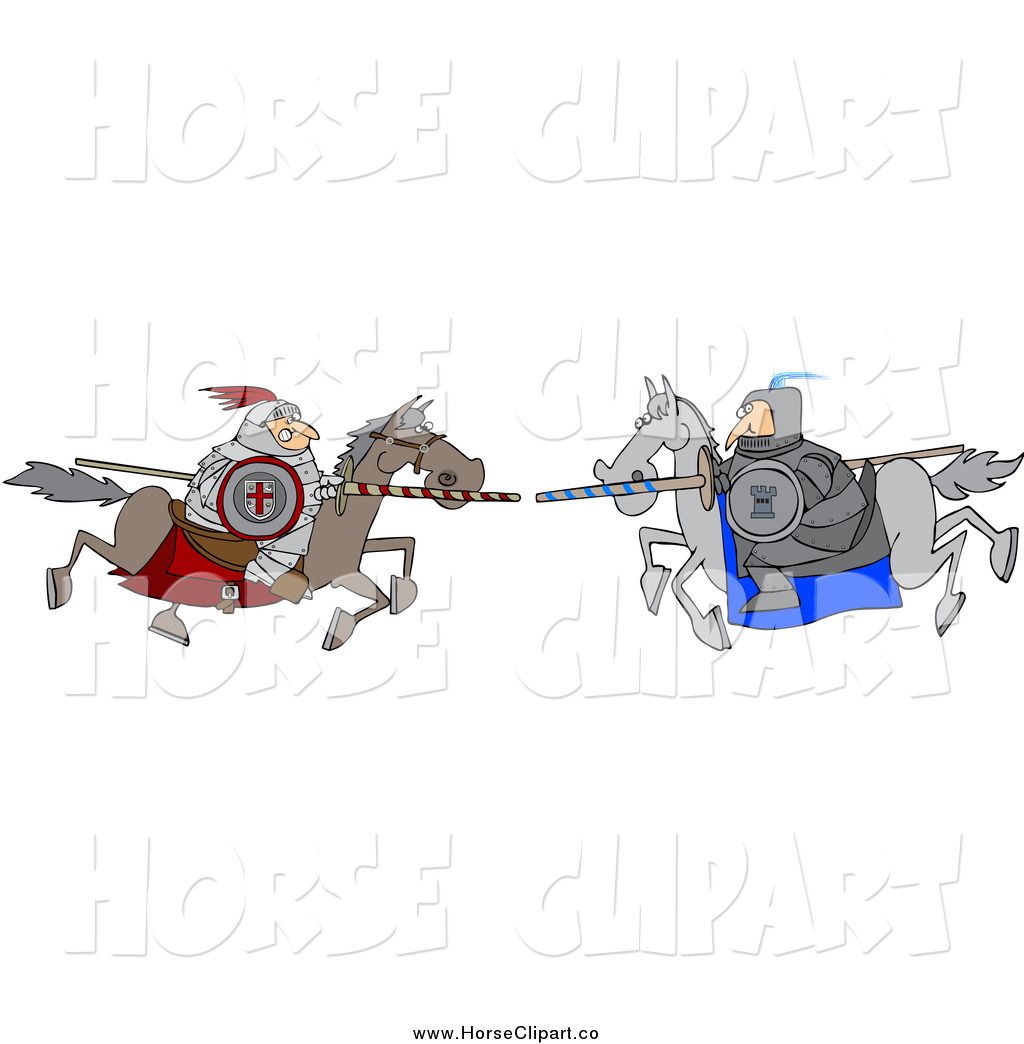 Clip Art of a Jousting Knight Opponents Racing Towards Eachother ...
