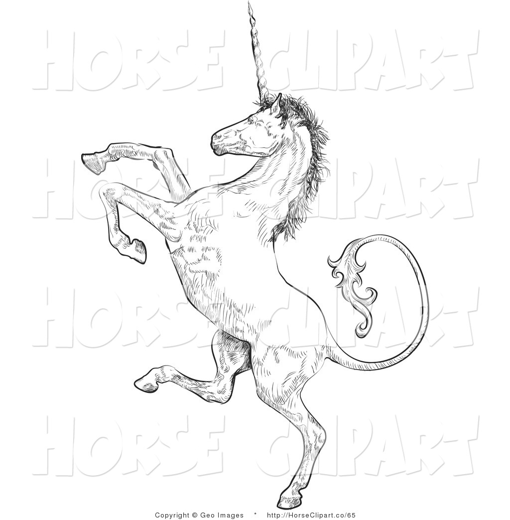 rearing horse coloring pages - clip art of a profile of a unicorn rearing up on his hind