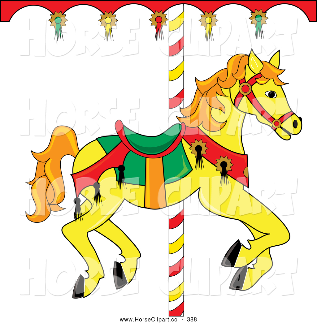 clip art of a yellow carousel horse with orange hair looking right rh horseclipart co carousel horse clipart carousel horse clipart