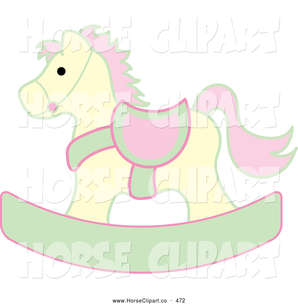 ... , Pink and Green Children's Wooden Rocking Horse Toy by Pams Clipart