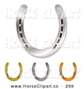 Clip Art of 4 Assorted Horseshoes by Michaeltravers