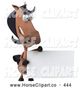 Clip Art of a 3d Cartoon Horse Character with a Blank Sign by Julos