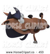 Clip Art of a 3d Charlie Horse Character Doing a Hand Stand, on White by Julos