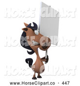 Clip Art of a 3d Horse Character with a Blank Sign by Julos