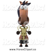 Clip Art of a 3d Horse Facing Front with a Trophy by Julos