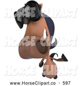 Clip Art of a 3d Horse Looking up and Wearing Shades by Julos