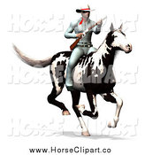 Clip Art of a 3d Masked Cowboy with a Gun on His Horse by Ralf61