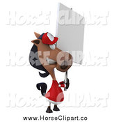 Clip Art of a 3d Polo Horse Holding a Sign by Julos