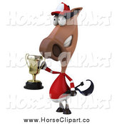 Clip Art of a 3d Polo Horse Holding a Trophy, Facing Slightly Left by Julos