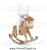 Clip Art of a 3d White Kid on a Toy Rocking Horse by BNP Design Studio