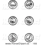 Clip Art of a 6 Black and White by Delivery Seals on White by Eugene