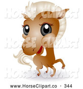 Clip Art of a Adorable Big Head Brown Baby Horse by BNP Design Studio