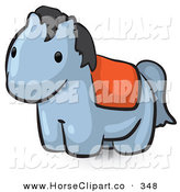 Clip Art of a Animal Factor Cute Gray Pony with a Red Saddle by Leo Blanchette