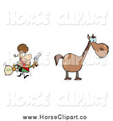 Clip Art of a Bandit with a Money Bag, Running Towards His Horse by Hit Toon