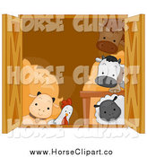 Clip Art of a Barn Window and Cute Animals by BNP Design Studio