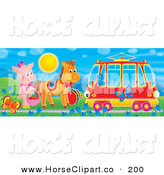 Clip Art of a Bird in a Tram Car Passing a Pig and Horse by Butterflies and Flowers Under a Spring Sun by Alex Bannykh