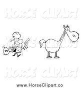 Clip Art of a Black and White Bandit Running Towards His Horse by Hit Toon