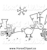 Clip Art of a Black and White Bank Robber Running Towards His Horse in the Desert by Hit Toon