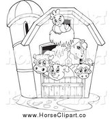Clip Art of a Black and White Barnyard Animals in a Barn by Visekart