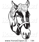Clip Art of a Black and White Bridled Horse Head Facing Right by David Rey