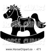 Clip Art of a Black and White Children's Wooden Rocking Horse Toy by Pams Clipart