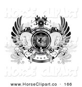 Clip Art of a Black and White Coat of Arms with Wings, an Iron Cross Shield, Stars, Banners and Two Horses by C Charley-Franzwa