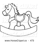 Clip Art of a Black and White Coloring Page Outlined Children's Wooden Toy Rocking Horse by Pams Clipart