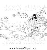 Clip Art of a Black and White Cow, Horse, Pig and Sheep on Farmland by Visekart