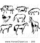 Clip Art of a Black and White Cow, Pig, Sheep, Chicken and Horses in Paintbrush Stroke Style on a White Background by Prawny