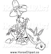 Clip Art of a Black and White Cowboy Man Chewing on Straw and Riding a Horse by Toonaday
