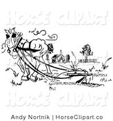 Clip Art of a Black and White Drawing of a Horse Pulling a Plow in a Barnyard Pasture by Andy Nortnik