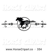 Clip Art of a Black and White Galloping Horse Page Divider or Website Header on White by C Charley-Franzwa