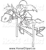 Clip Art of a Black and White Girl on a Leaping Horse by Toonaday