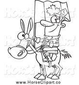 Clip Art of a Black and White Happy Mountie on a Horse by Ron Leishman
