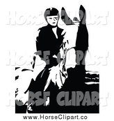 Clip Art of a Black and White Horse Back Rider by Prawny