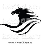 Clip Art of a Black and White Horse Head and Waves by Vector Tradition SM