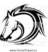 Clip Art of a Black and White Horse Head by Vector Tradition SM