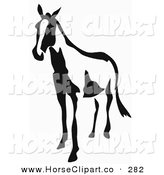 Clip Art of a Black and White Horse in Paintbrush Stroke Style on a White Background by Prawny