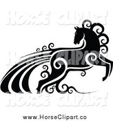 Clip Art of a Black and White Horse with Swirls by Vector Tradition SM