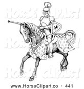 Clip Art of a Black and White Jousting Knight Riding on His Steed, on White by C Charley-Franzwa