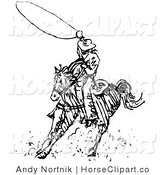 Clip Art of a Black and White Line Outline Design of a Cowboy Swirling a Lasso While Riding on Horseback by Andy Nortnik